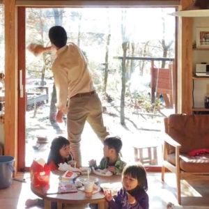 シンケンスタイルの家、窓掃除_木の家